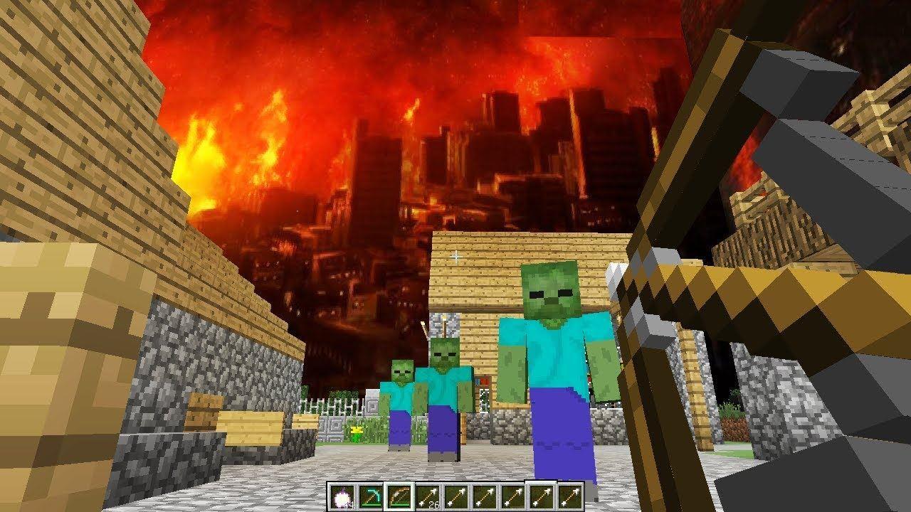 игры майнкрафт выживание в городе зомби #3