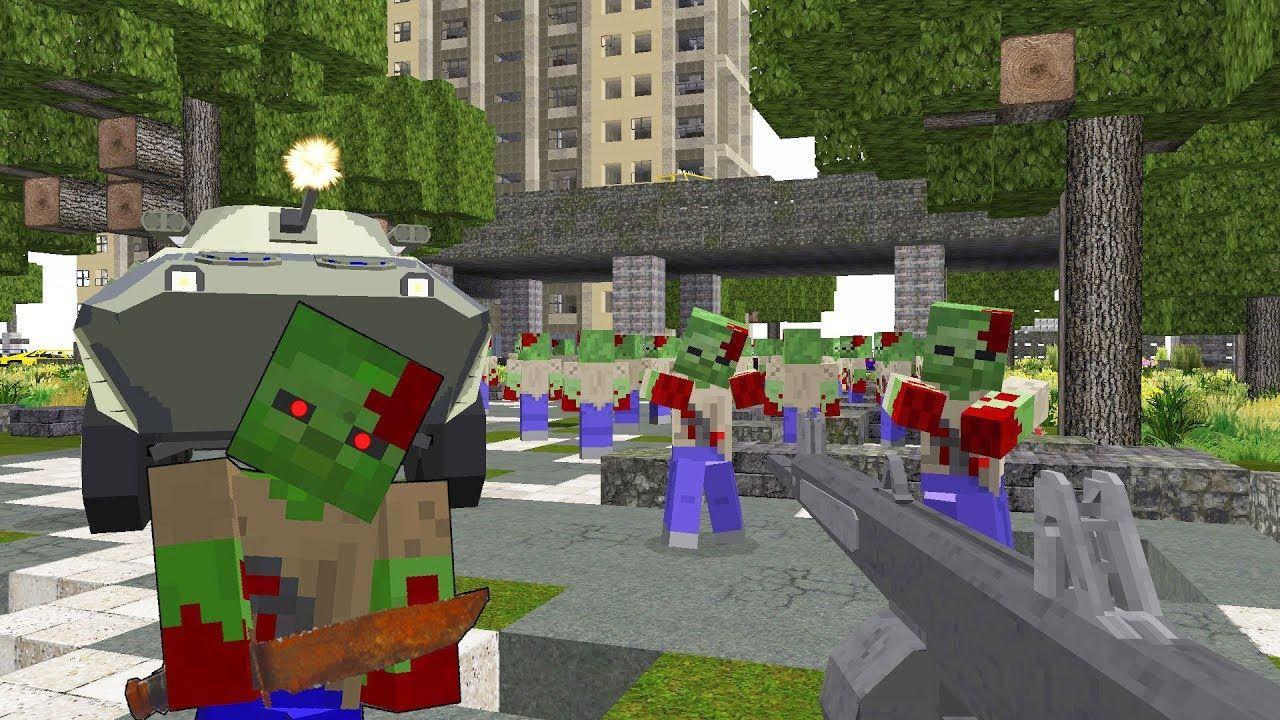игры майнкрафт выживание в городе зомби #9