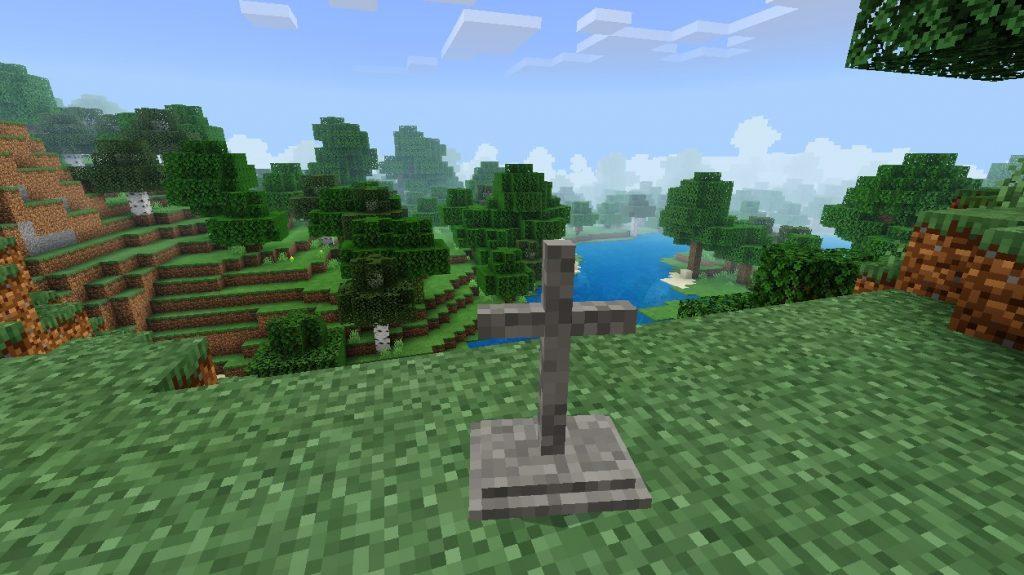 Могильный крест в майнкрафт пе