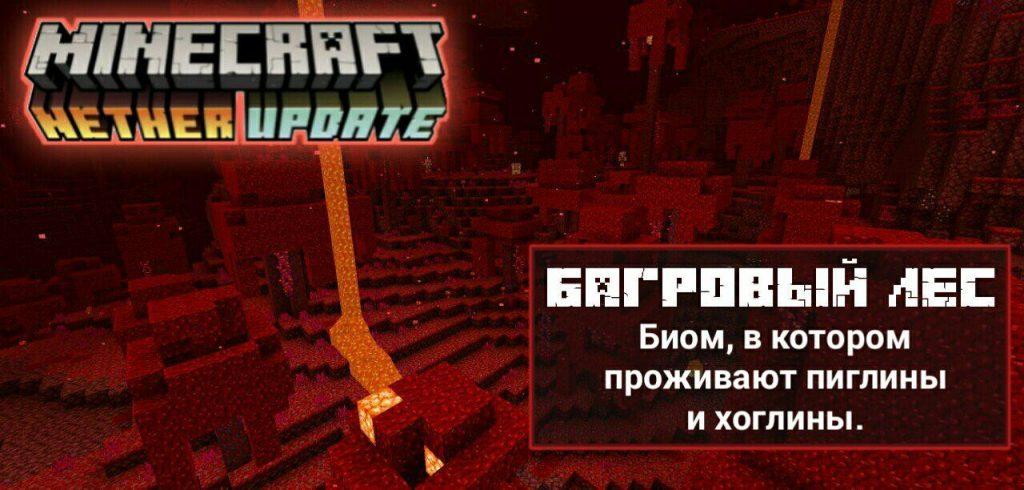 Багровый лес в Minecraft PE 1.16.40