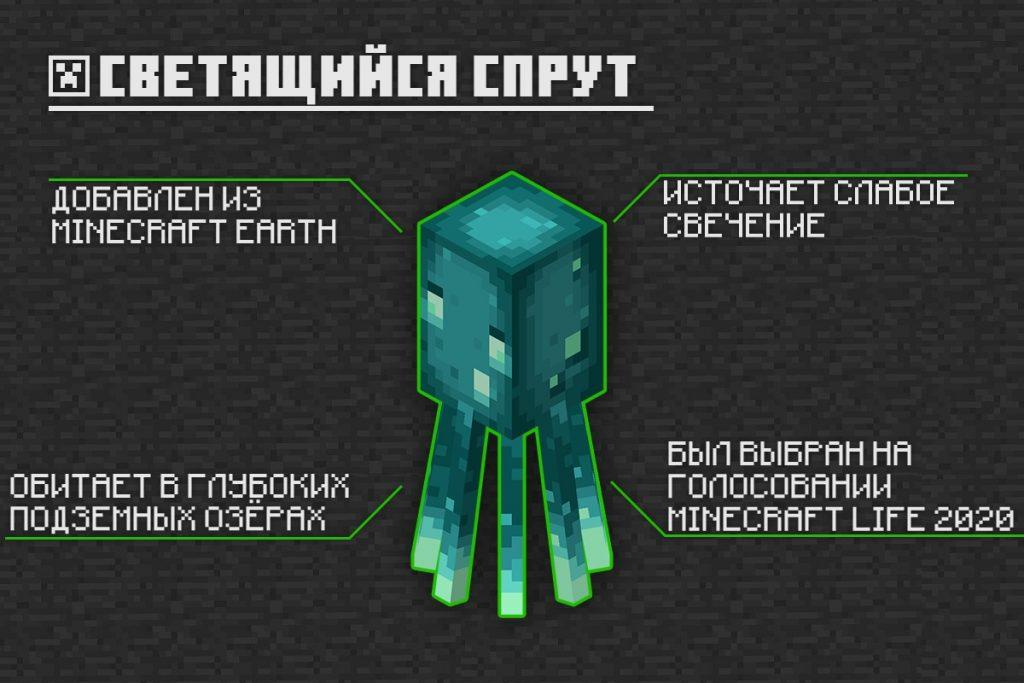 Светящийся спрут в Minecraft PE 1.16.221.01