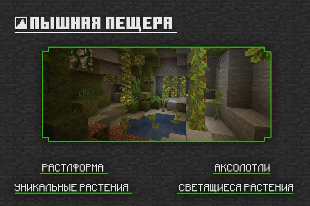 Пышная пещера в Майнкрафт 1.16.210