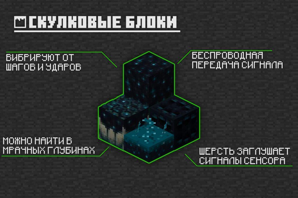 Скулковые блоки в Майнкрафт 1.16.210