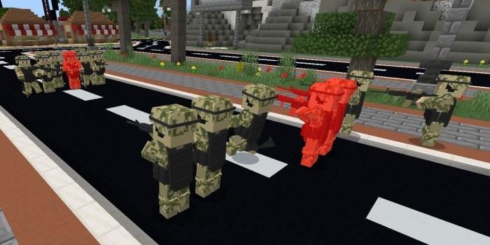 Солдаты сражаются в игровом мире