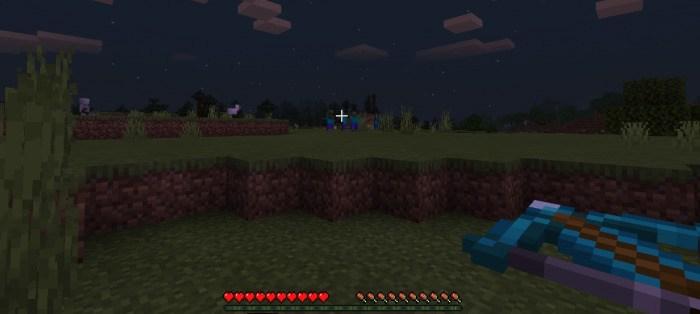 Игрок ночью с алмазным арбалетом