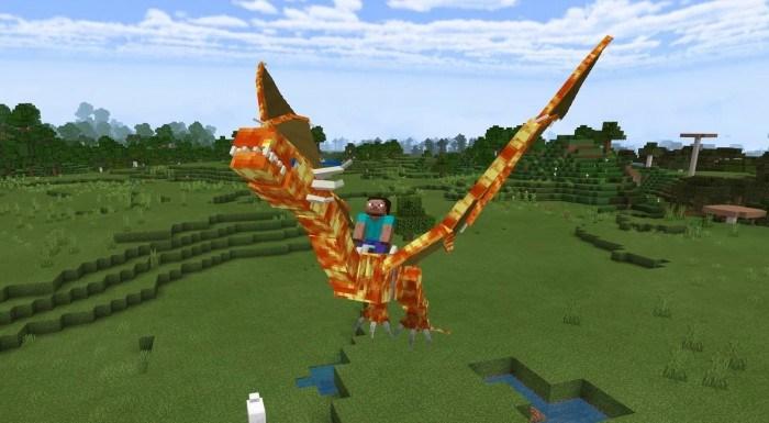 Игрок летает на драконе