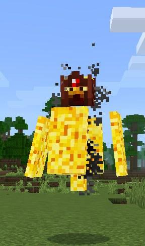 Дикий огонь стоит на траве в Майнкрафт